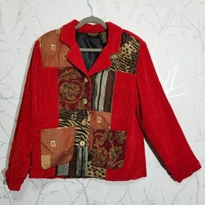 Allure Red Velour Mixed Fabric Patchwork Blazer
